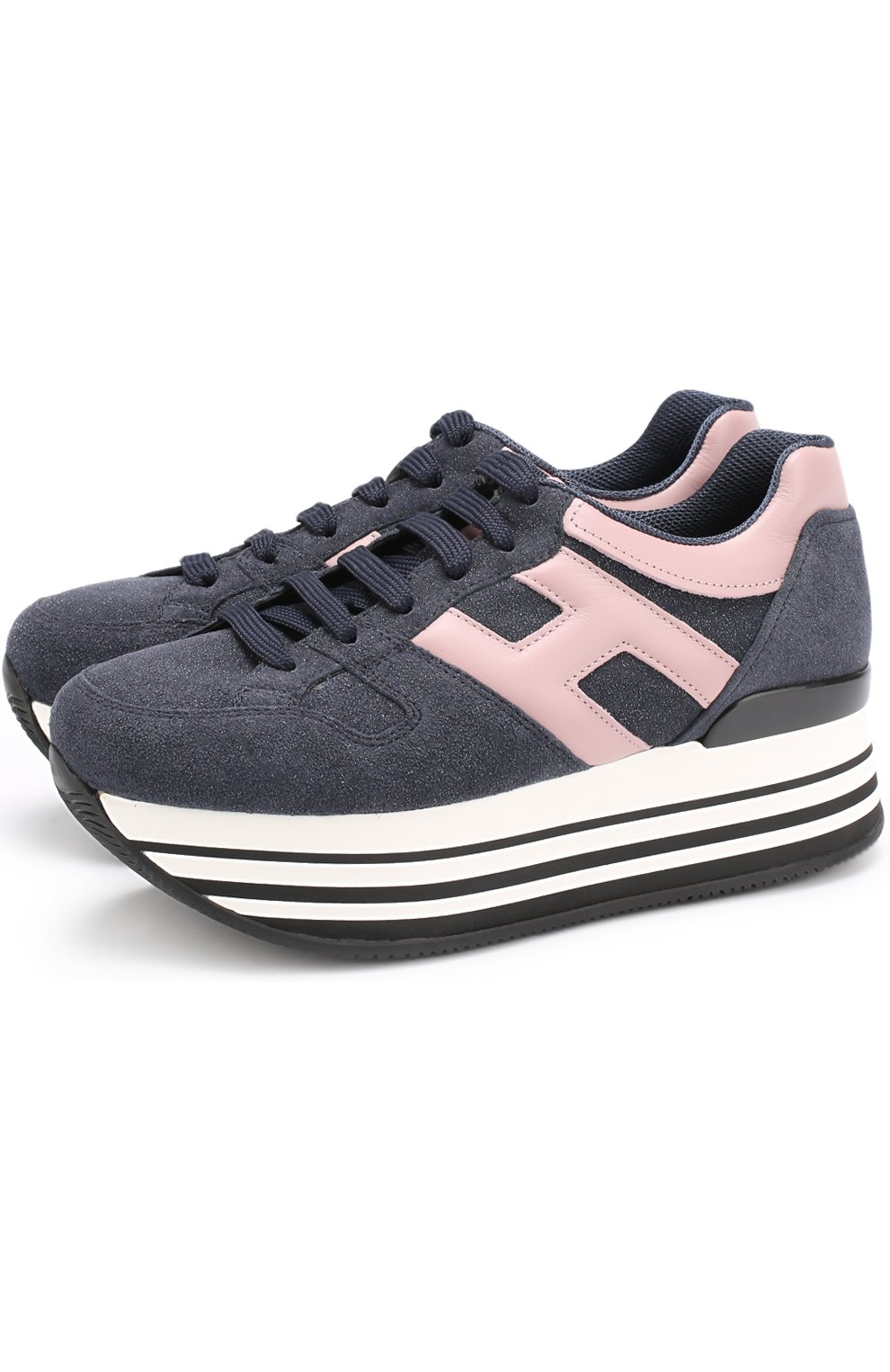 Комбинированные кроссовки на платформе | Фото №1
