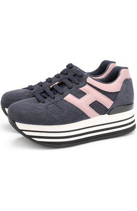Комбинированные кроссовки на платформе Hogan синие | Фото №1