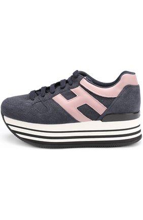 Комбинированные кроссовки на платформе Hogan синие | Фото №3