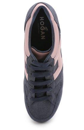 Комбинированные кроссовки на платформе Hogan синие | Фото №5