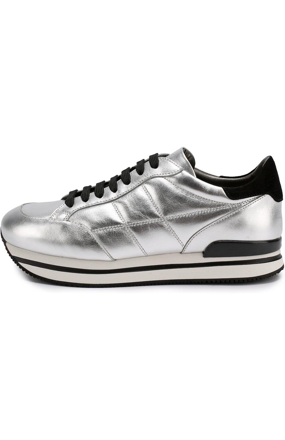 Кроссовки из металлизированной кожи на шнуровке | Фото №3