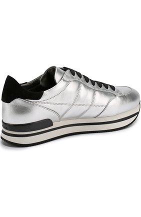 Кроссовки из металлизированной кожи на шнуровке | Фото №4