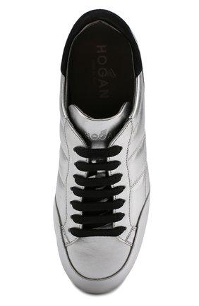 Кроссовки из металлизированной кожи на шнуровке | Фото №5