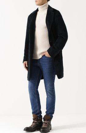 Шерстяное однобортное пальто с отложным воротником Caruso темно-синего цвета   Фото №1
