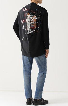 Хлопковый свитшот асимметричного кроя с принтом | Фото №2