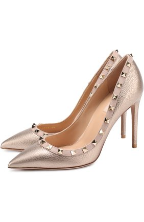 Туфли Valentino Garavani Rockstud из металлизированной кожи на шпильке | Фото №1