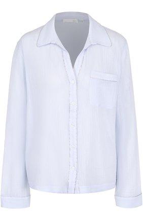 Жатая блуза свободного кроя Skin голубая | Фото №1