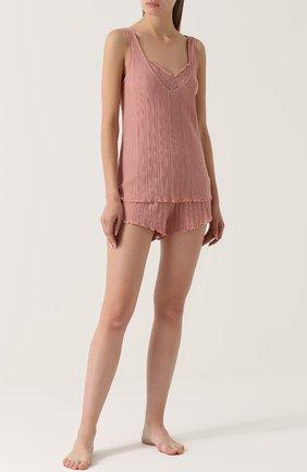 Плиссированные мини-шорты Skin розовые | Фото №1