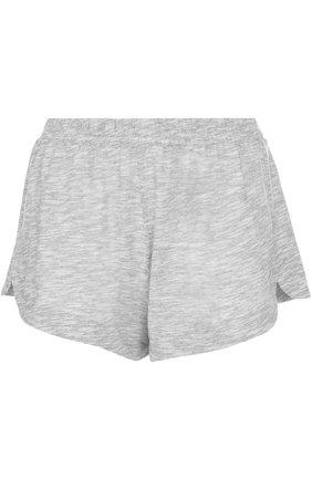Хлопковые мини-шорты с эластичным поясом Skin светло-серые | Фото №1