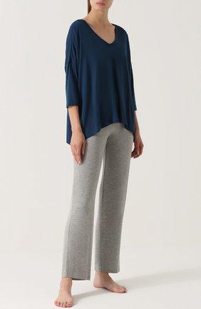 Однотонные брюки прямого кроя Skin серые | Фото №1