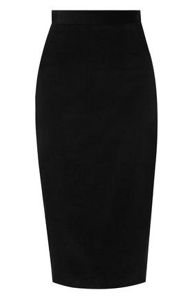 Бархатная юбка-карандаш с контрастной вставкой | Фото №1