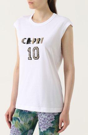 Топ прямого кроя с вышивкой Dolce & Gabbana белый | Фото №3
