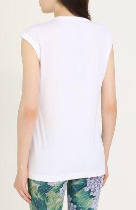 Топ прямого кроя с вышивкой Dolce & Gabbana белый | Фото №4