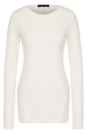 Удлиненный хлопковый пуловер с круглым вырезом The Row бежевый | Фото №1
