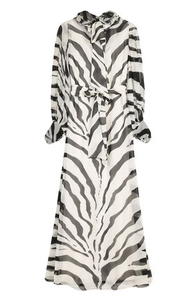 Шелковое платье-макси с поясом и принтом | Фото №1