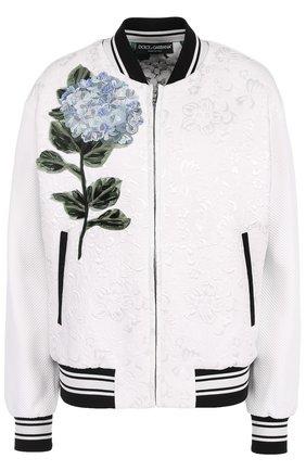 Бомбер на молнии с контрастной цветочной отделкой Dolce & Gabbana белая | Фото №1