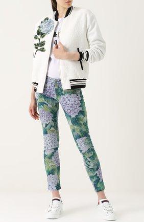 Бомбер на молнии с контрастной цветочной отделкой Dolce & Gabbana белая | Фото №2