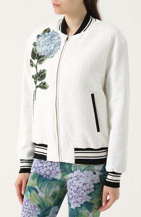 Бомбер на молнии с контрастной цветочной отделкой Dolce & Gabbana белая | Фото №3