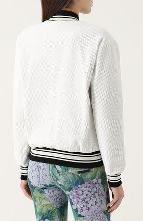 Бомбер на молнии с контрастной цветочной отделкой Dolce & Gabbana белая | Фото №4