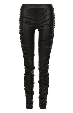 Кожаные брюки-скинни с драпировкой