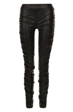 Кожаные брюки-скинни с драпировкой The Row черные | Фото №1