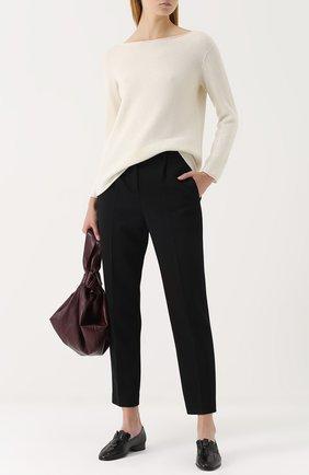 Укороченные брюки со стрелками и карманами The Row черные | Фото №1