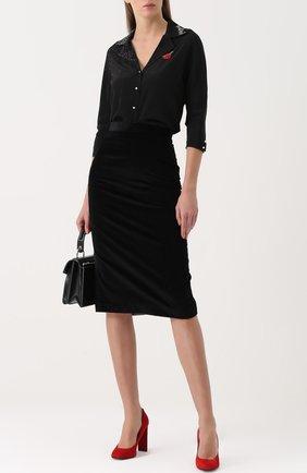 Женская шелковая блуза с укороченным рукавом Olympia Le-Tan, цвет черный, арт. PF17RT0005 в ЦУМ   Фото №1