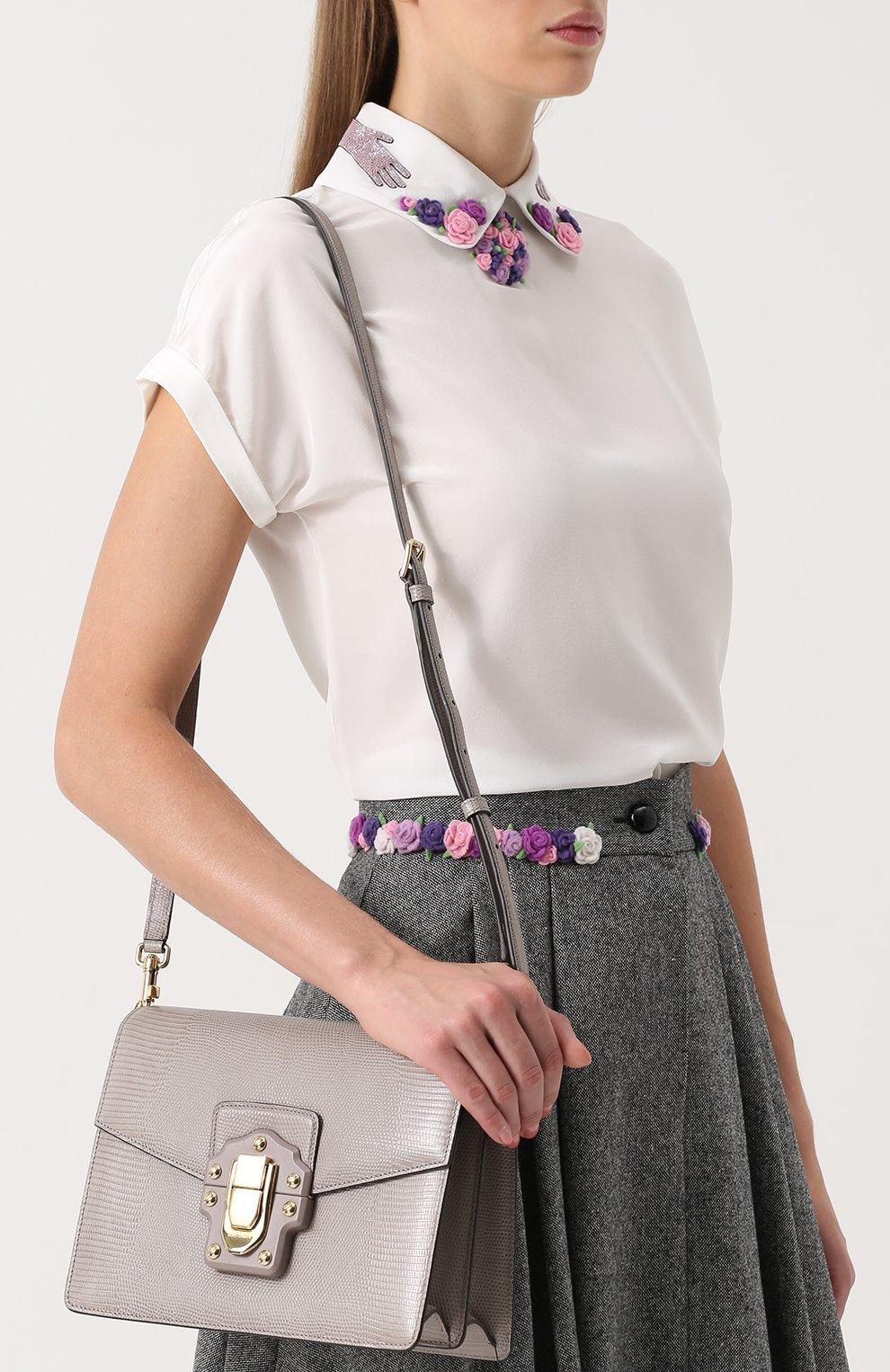 Сумка Luciaиз тисненой кожи Dolce & Gabbana серая цвета   Фото №5