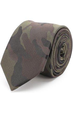 Шелковый галстук с камуфляжным принтом | Фото №1
