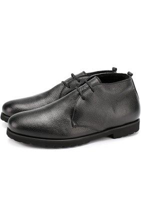 Кожаные ботинки на шнуровке с внутренней меховой отделкой Rocco P. черные   Фото №1