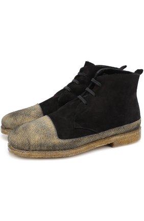 Высокие замшевые ботинки на шнуровке с внутренней меховой отделкой Rocco P. черные   Фото №1