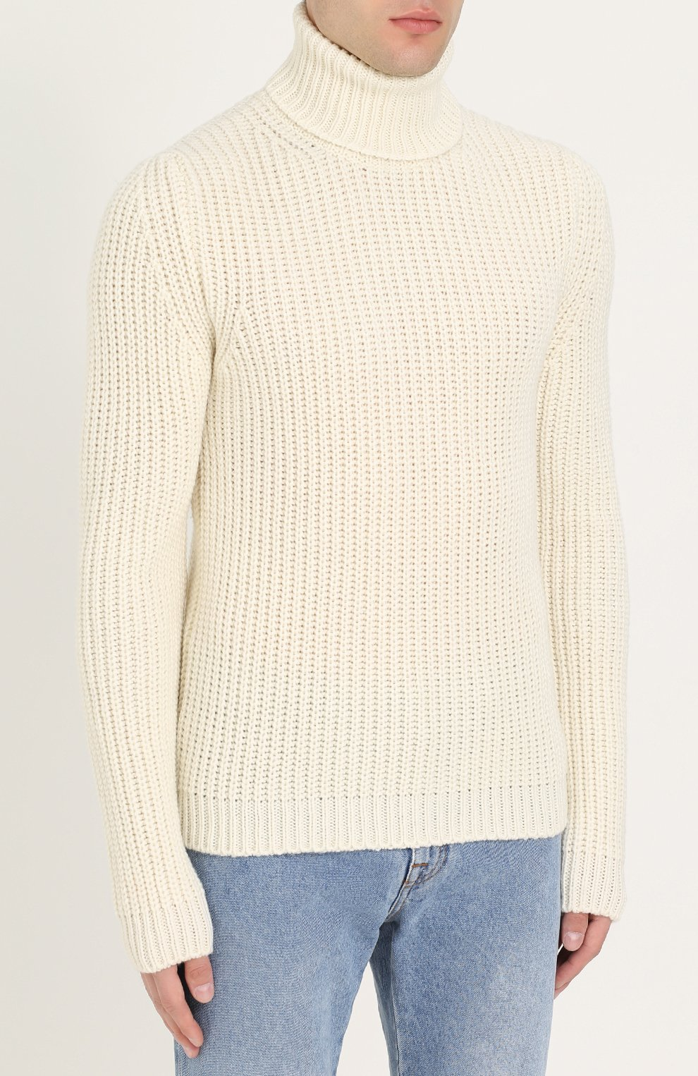 Шерстяной свитер с воротником-стойкой | Фото №3