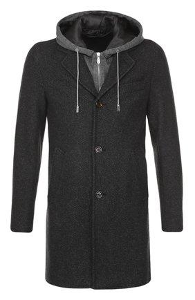 Шерстяное однобортное пальто с капюшоном