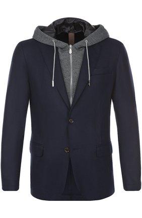 Шерстяной приталенный пиджак с капюшоном