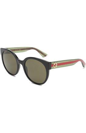 Женские солнцезащитные очки GUCCI темно-зеленого цвета, арт. 0035 002 | Фото 1 (Статус проверки: Проверена категория; Тип очков: С/з; Очки форма: Cat-eye; Оптика Гендер: оптика-женское)