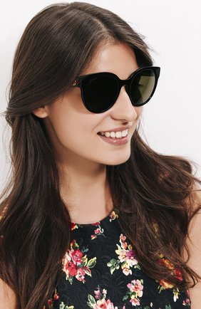 Женские солнцезащитные очки GUCCI темно-зеленого цвета, арт. 0035 002 | Фото 2 (Статус проверки: Проверена категория; Тип очков: С/з; Очки форма: Cat-eye; Оптика Гендер: оптика-женское)