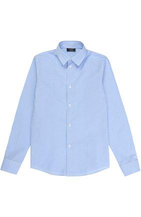 Детская хлопковая рубашка прямого кроя в клетку DAL LAGO голубого цвета, арт. N402/2206/7-12 | Фото 1