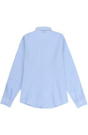 Детская хлопковая рубашка прямого кроя в клетку DAL LAGO голубого цвета, арт. N402/2206/7-12 | Фото 2