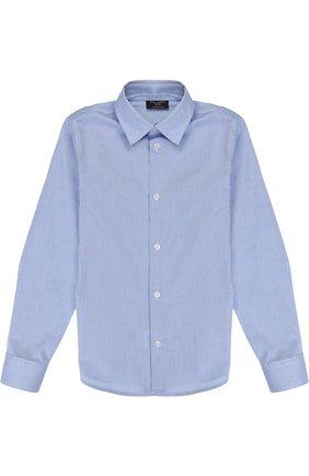 Детская хлопковая рубашка с воротником кент DAL LAGO темно-синего цвета, арт. N402/1167/7-12 | Фото 1