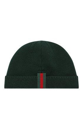 Детского шерстяная шапка GUCCI зеленого цвета, арт. 459431/4K638 | Фото 2