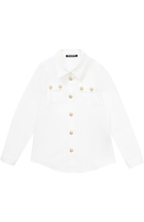 Хлопковая блуза прямого кроя с декоративными пуговицами | Фото №1