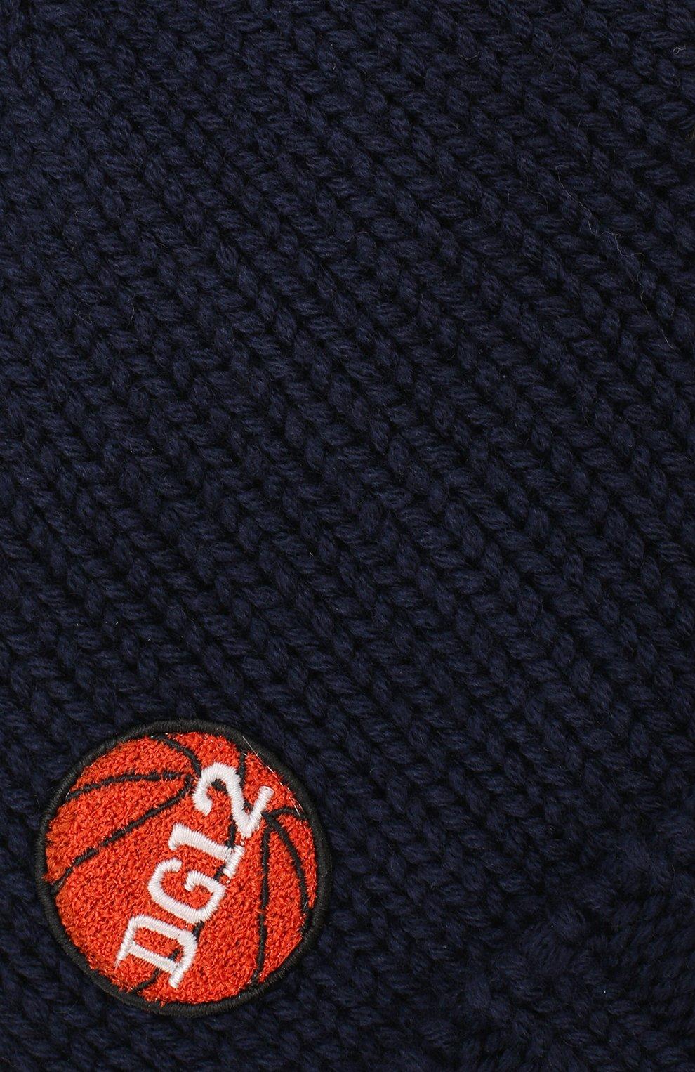 Шерстяная шапка с нашивками Dolce & Gabbana синего цвета | Фото №3