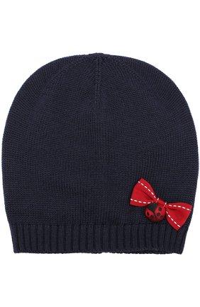 Шерстяная шапка с бантом Dolce & Gabbana темно-синего цвета | Фото №1