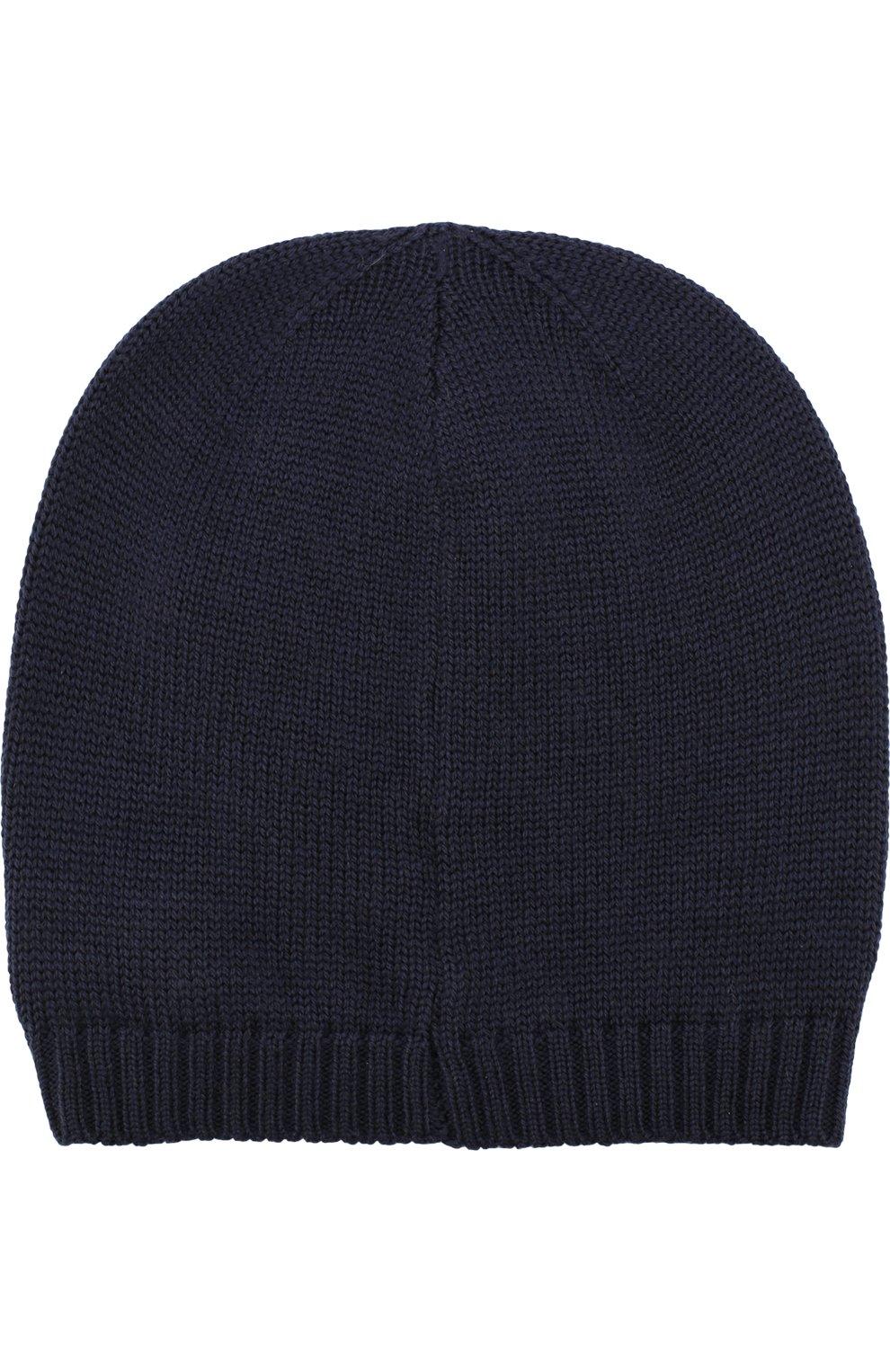 Шерстяная шапка с бантом Dolce & Gabbana темно-синего цвета | Фото №2