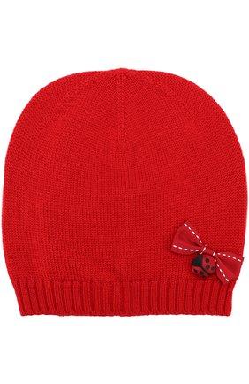 Шерстяная шапка с бантом Dolce & Gabbana красного цвета | Фото №1