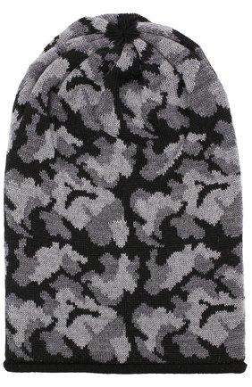 Детского шерстяная шапка с принтом CATYA черного цвета, арт. 721685   Фото 1