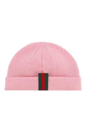 Детского шерстяная шапка GUCCI розового цвета, арт. 459431/4K638 | Фото 2