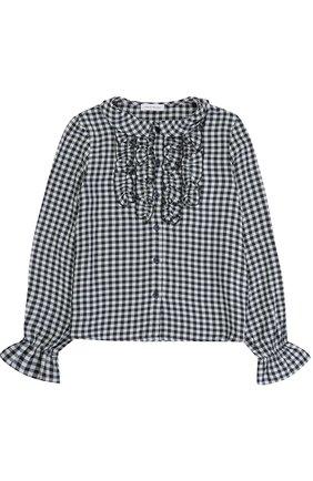 Блуза из вискозы в клетку с оборками | Фото №1