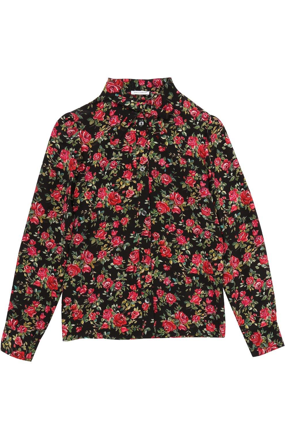 Шелковая блуза с цветочным принтом и бантом | Фото №1