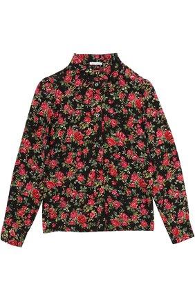 Детская шелковая блуза с цветочным принтом и бантом Dolce & Gabbana разноцветного цвета | Фото №1